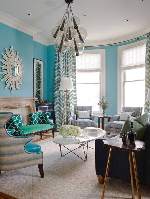 Turquoise Living Room Design Ideas Remodel Pictures Houzz