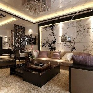 Attractive Exceptional Asian Style Living Room Interior Design With Large .