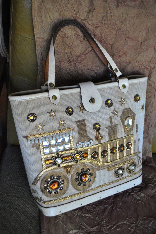 Vintage 60s Jeweled Burlap Handbag Made By Collins Texas 68 00