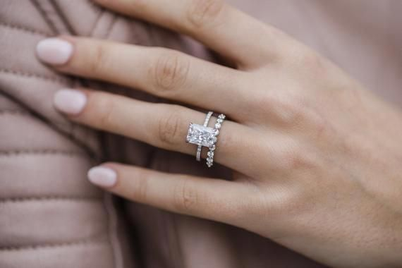Sutton 2 7 Carat 9 25x6 75mm Crushed Ice Hybrid Moissanite Engagement Ring With Radiant Engagement Rings Rectangle Engagement Rings Classic Engagement Rings