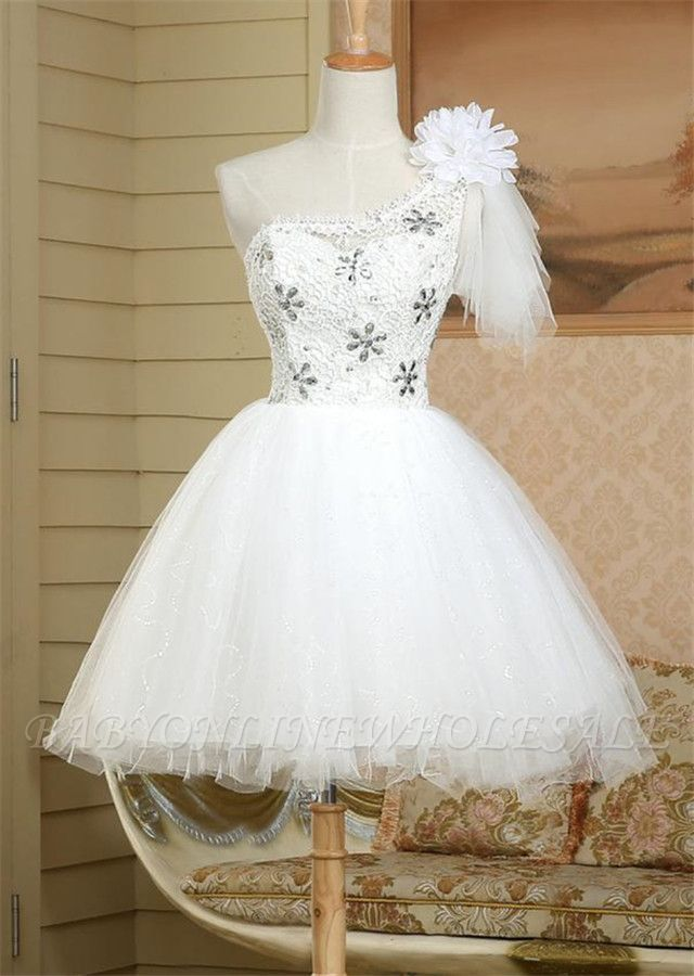 A-line Scoop Homecoming Dress Tulle Short Prom Drsess