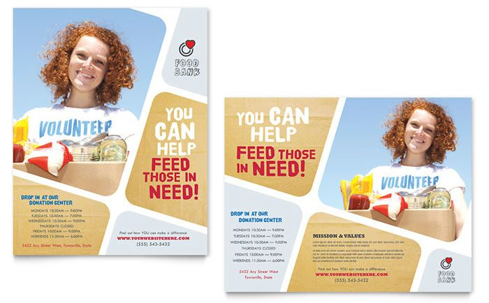 food bank volunteer poster template design by stocklayouts