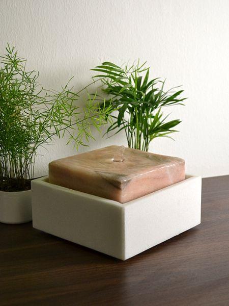 tischbrunnen design zimmerbrunnen arosa aus naturstein made in austria revisage mit led beleuchtung