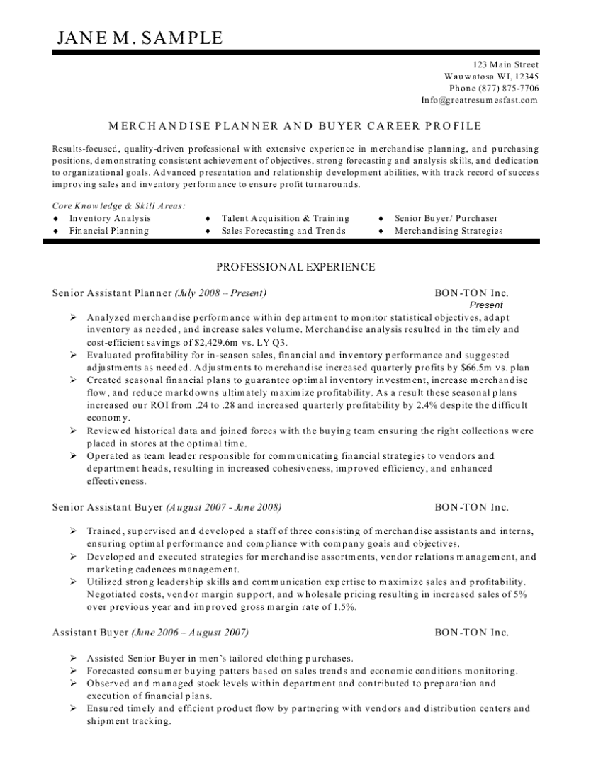 Merchandise Planner and Buyer Resume Resume summary