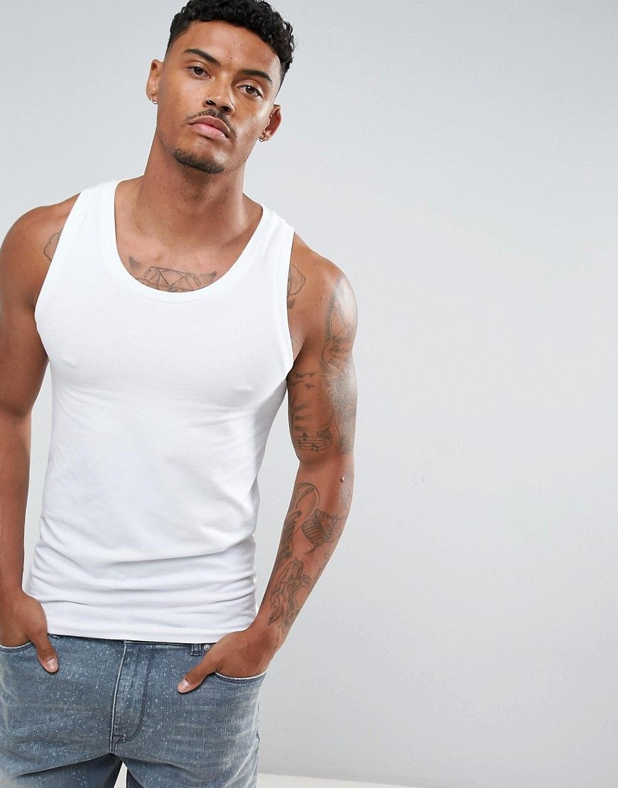 Extreme Muscle Vest In White - White Asos Reliable Sale Online q4k82LQ