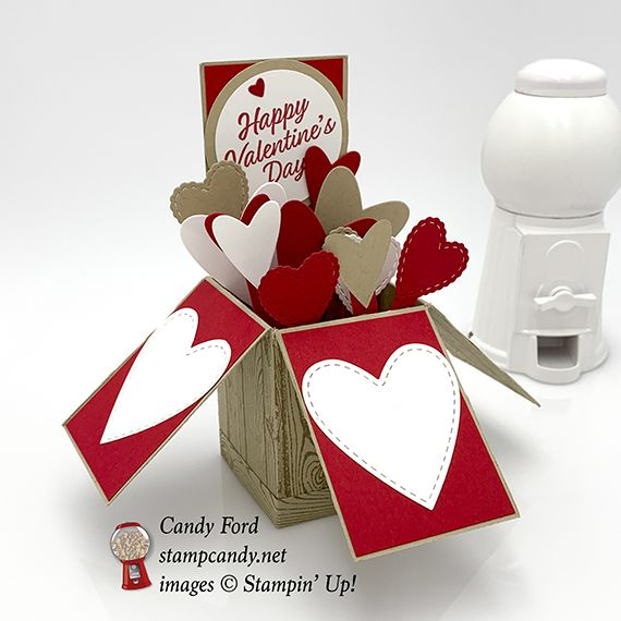 exploding box of hearts valentine card  cards stampin up