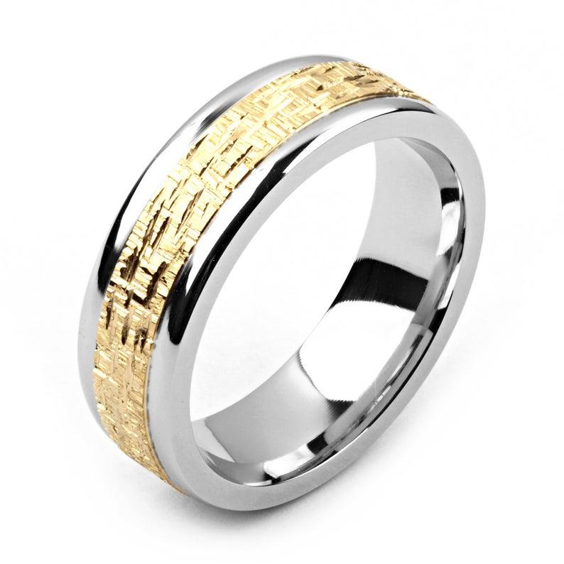 Men's Cobalt Ring 7mm Wide TwoTone Cobalt & 14K Yellow