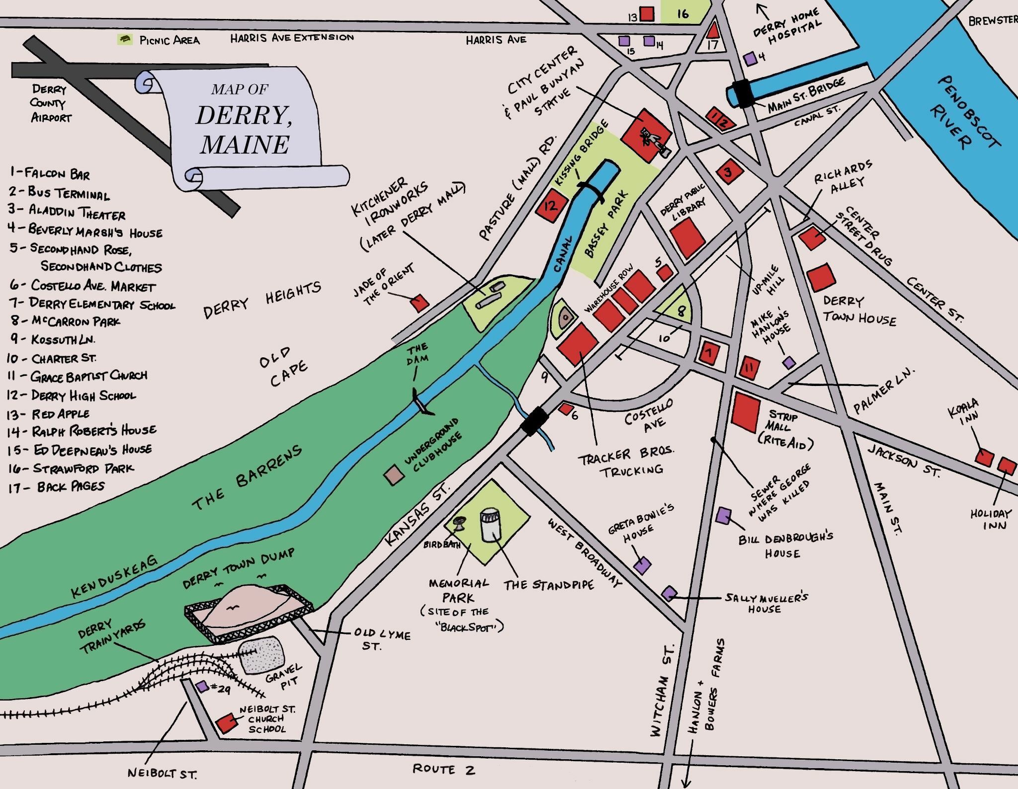 Map Of Derry Maine Stephen King Pinterest Derry Maine