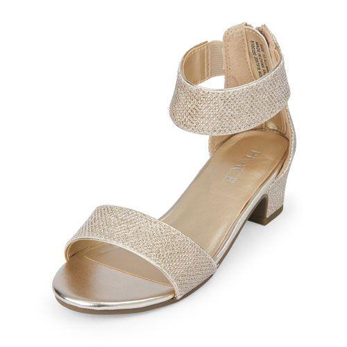 417d669c870 s Sparkly Ashely Mini-Heel Sandal - Metallic - The Children s Place ...