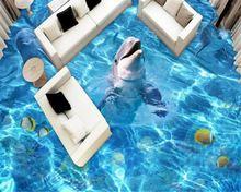 Beibehang Dolphins 3D Bodenbelag Fliesen Malerei Schlafzimmer Badezimmer 3d  Boden PVC Rutschfeste Böden Aufkleber Foto Papel