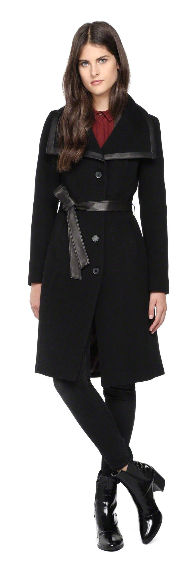 SOIA & KYO - VERLY-SP BLACK LONG WOOL WINTER COAT WITH LEATHER ...
