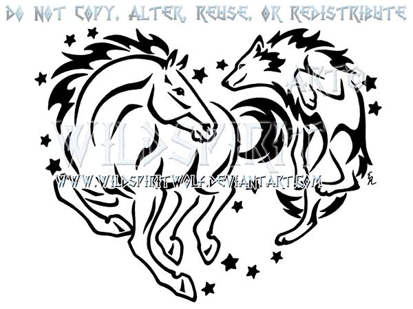 9fcdc4cdd Horse And Wolf Starry Heart Design by WildSpiritWolf.deviantart.com on @ deviantART