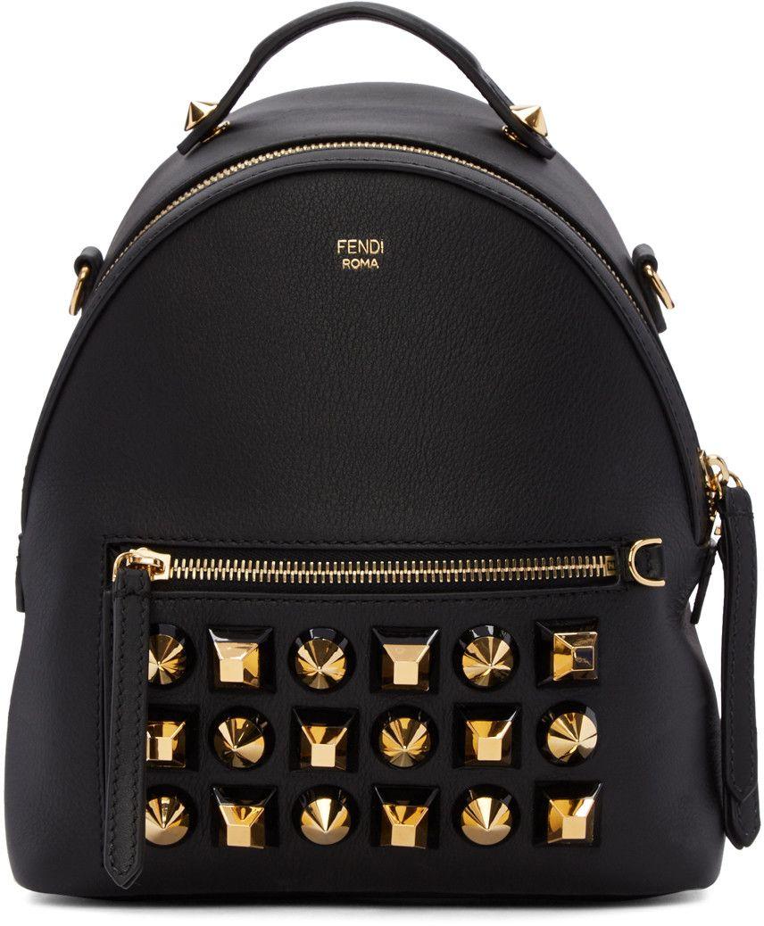 aa0b08239b FENDI Black Studded Messenger Backpack.  fendi  bags  leather  lining   backpacks