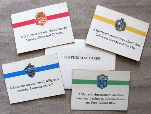 Sorting House Cards Harry Potter Sorting Harry Potter Birthday