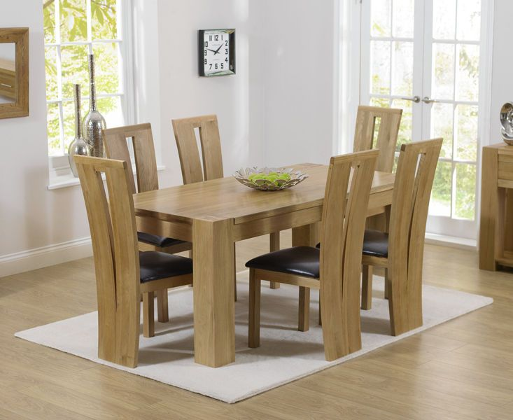 Solid Oak 180cm Dining Table With 6 Dining Chairs Thames