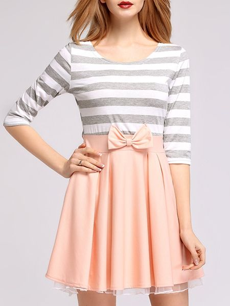 Round Neck Color Block Patchwork Striped Skater-dress Skater Dresses from fashionmia.com