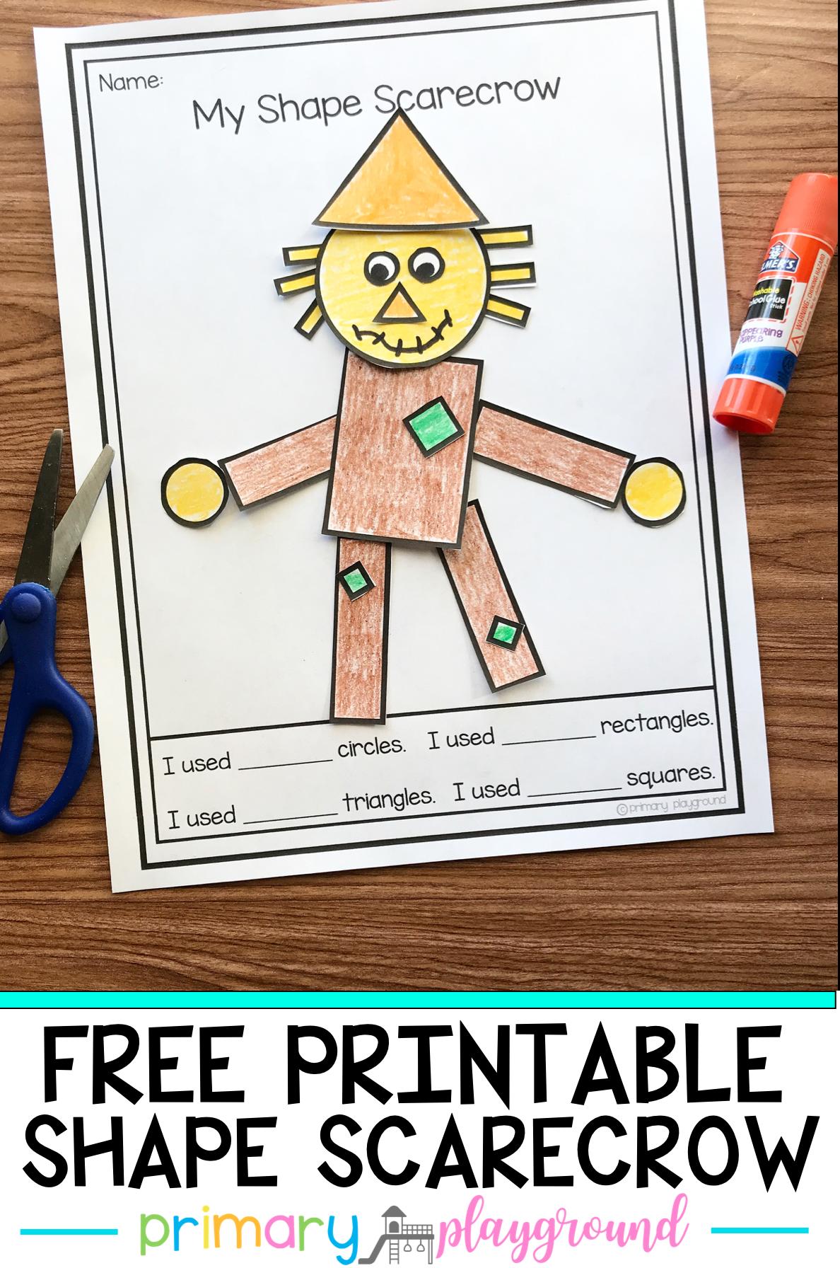 Free Printable 2d Shape Scarecrow Primary Playground Fall Preschool Activities Fall Kindergarten Shapes Kindergarten [ 1792 x 1188 Pixel ]