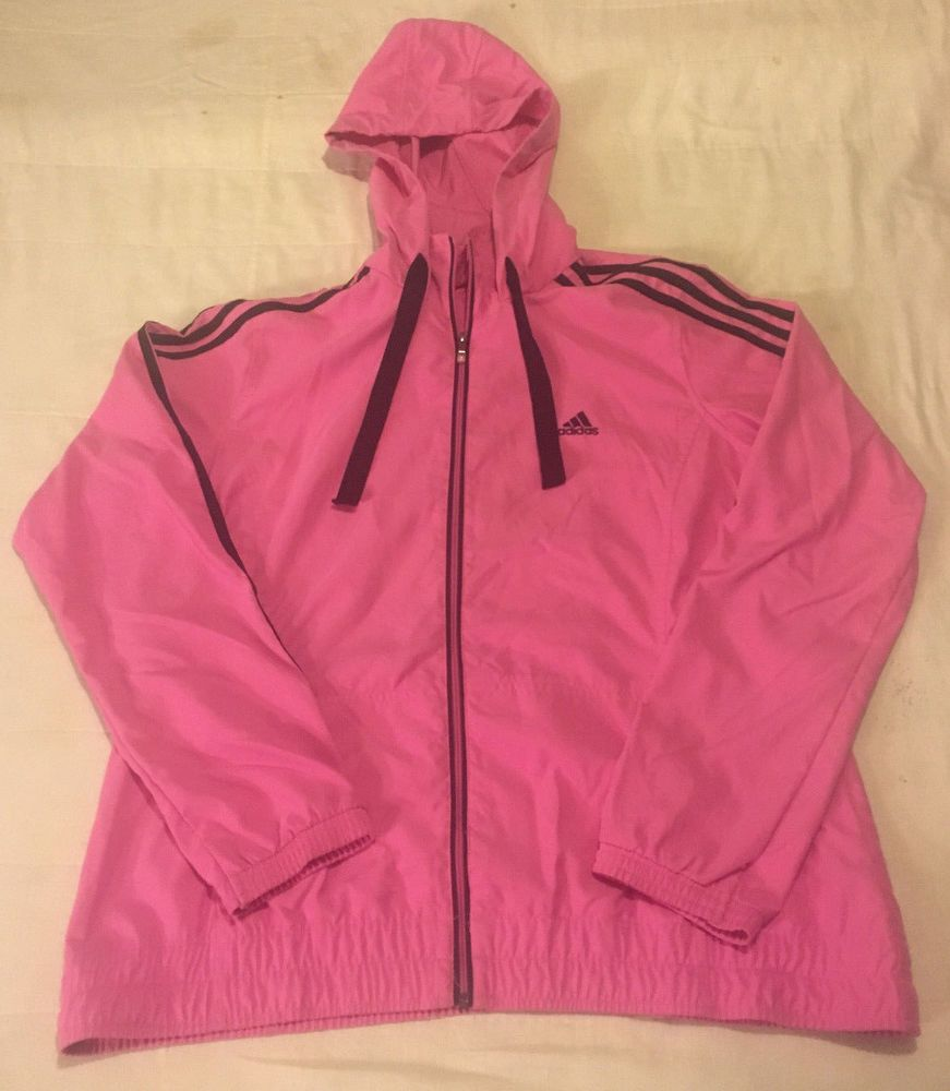 176341868889 Womens Pink L Large Adidas Full Zip Unlined Hooded Track Jacket Windbreaker   fashion  clothing  shoes  accessories  womensclothing  activewear (ebay  link)