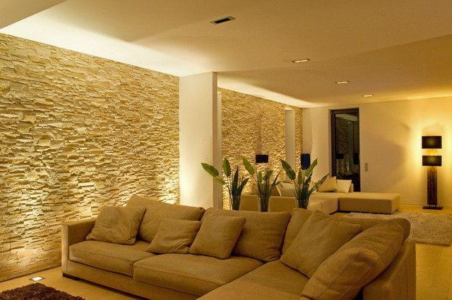Wohnzimmer Einrichtung, Design, Inspiration und Bilder Stone walls - wohnzimmer orange beige