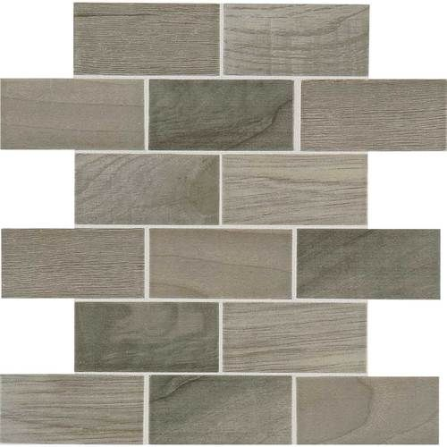 Emblem Gray 2x4 Brick Joint Mosaic Ceramic Wood Look Tile Classic Wood Grain Visuals And A Smooth Surface Mounted On A 12x Faux Wood Tiles Flooring Daltile