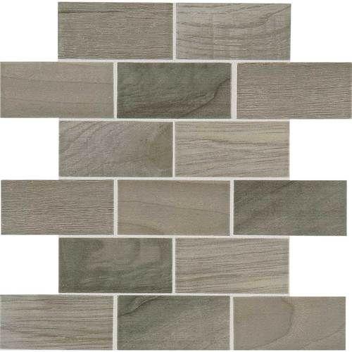 Emblem Gray 2x4 Brick Joint Mosaic Ceramic Wood Look Tile