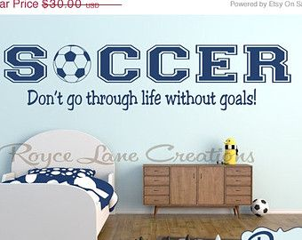 Valentines Day Sale Soccer Wall Decal Sports Vinyl Wall Decal Soccer Quote  B20 Boys Room Teen Boy Room Decor Wall Art Soccer Decor