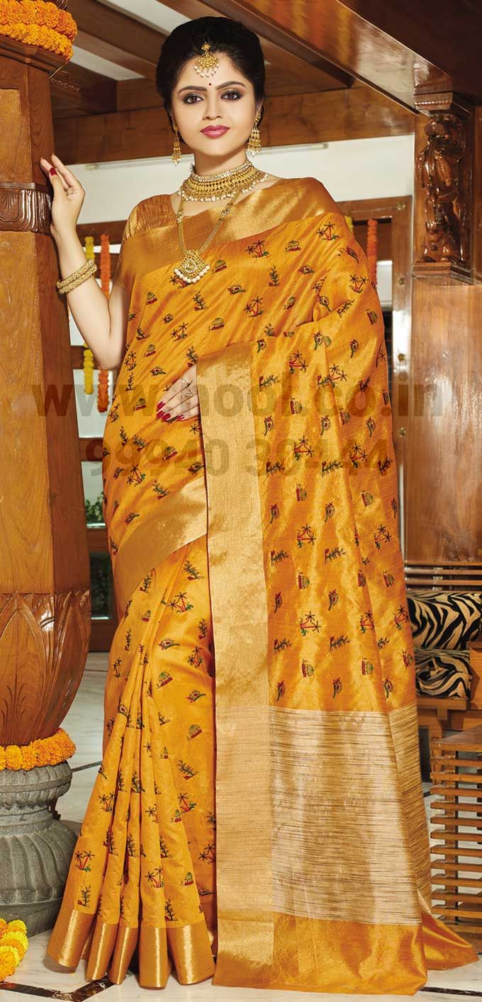 83cafe86b41406 Kolkata-Fancy-Saadi-Yellow-Jute-Silk-Traditional-Weaved-