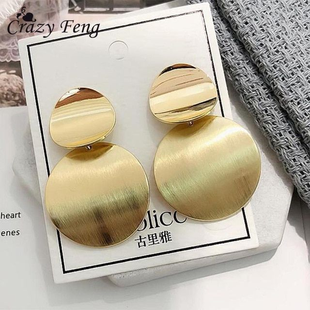 7a97e2789 Vintage metal Round Hollow Earrings Geometric Double Layers Earrings 2018  Fashion Long Earrings Female Simple Style Jewelry Review