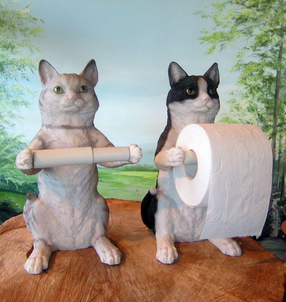 Katze als toilettenpapier halter 31cm grau o schwarz deko figur bad deko sitzend crazy cat - Bad deko schwarz ...