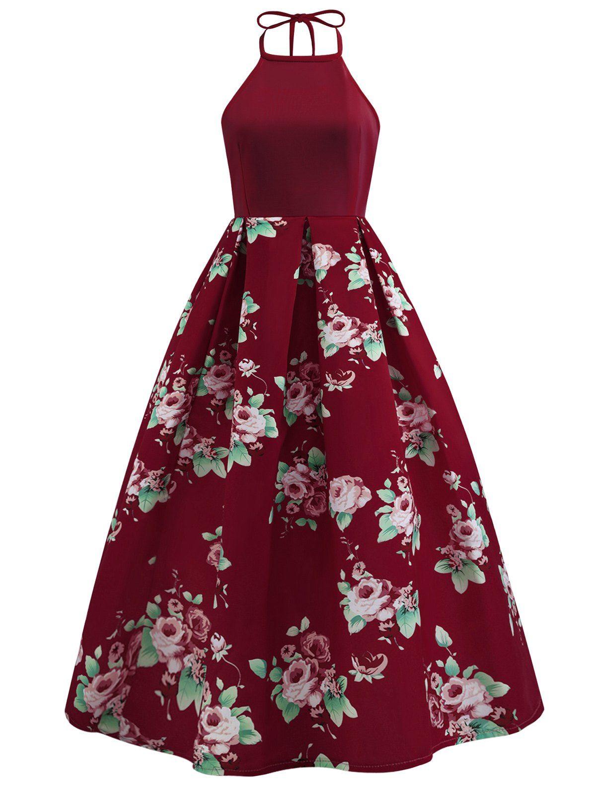 Vintage back cutout halter floral dress vintage dresses floral