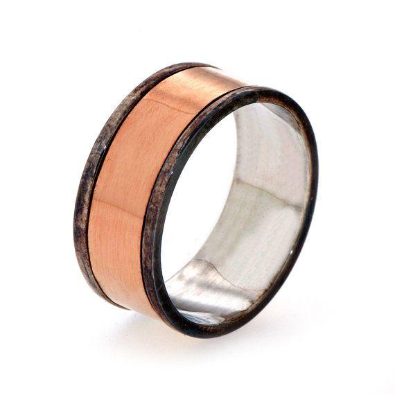 Mens Wedding Band 14k Rose Gold Ring Mens Gold Band by arosha