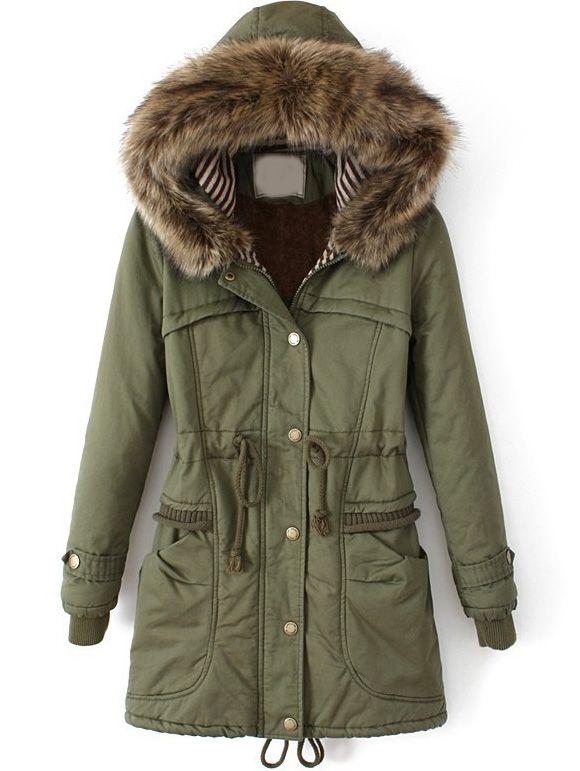 golondrina Culpa Confusión  Abrigo entallado con capucha pelo-Verde | Long quilted coat, Long hooded  coat, Long green coat