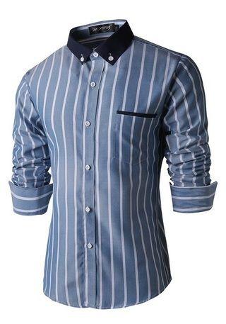 c6cdd0f58b371 Camisa Casual Elegante a Rayas - Cuello Azul en Contraste - en Azul Oscura
