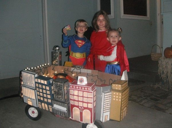 radio flyer wagon superheroes save metropolis - Kids Halloween Radio