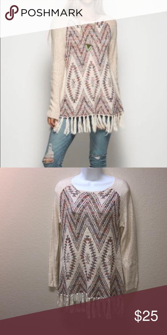Nwot She Sky Fringe Tribal Sweater In 2019 My Posh Picks