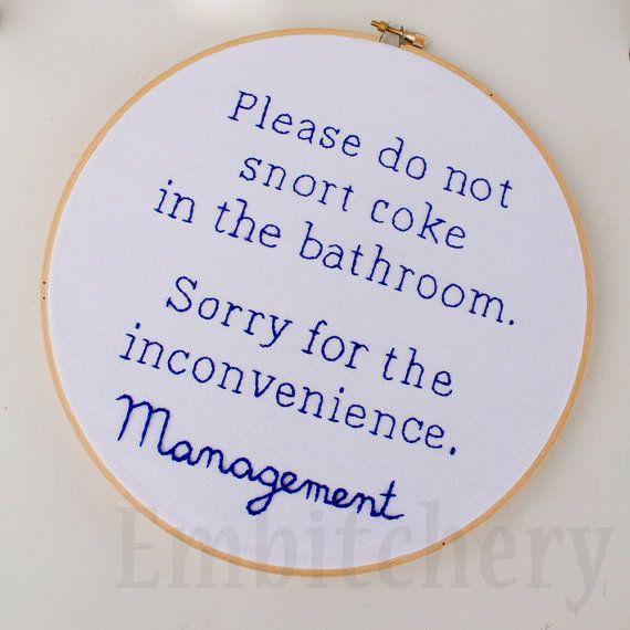 Don T Snort Coke Funny Bathroom Snarky Cross Stitch Snarky Embroidery Funny Bathroom Art Funny Cross Stitch Snarky Xstitch Cross Stitch Funny