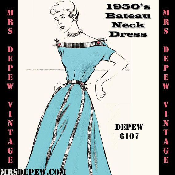 Vintage Sewing Pattern 1950\'s Bateau Neck Dress in Any Size - PLUS ...