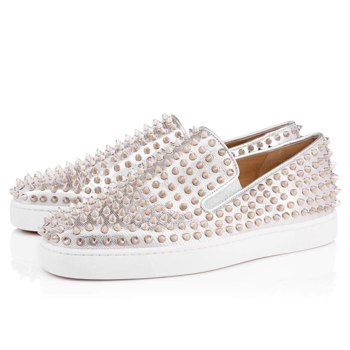 4e420fa8d31c Christian Louboutin United States Official Online Boutique - Roller-Boat  Men s Flat Silver Silver Leather available online. Discover more Men Shoes  by ...