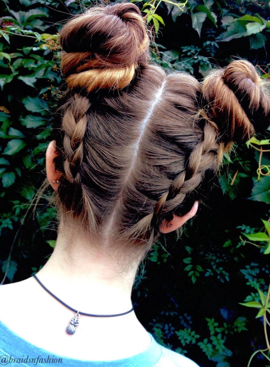 Braidsnfashion Hair Styles Two Buns Hairstyle Braided Bun Hairstyles
