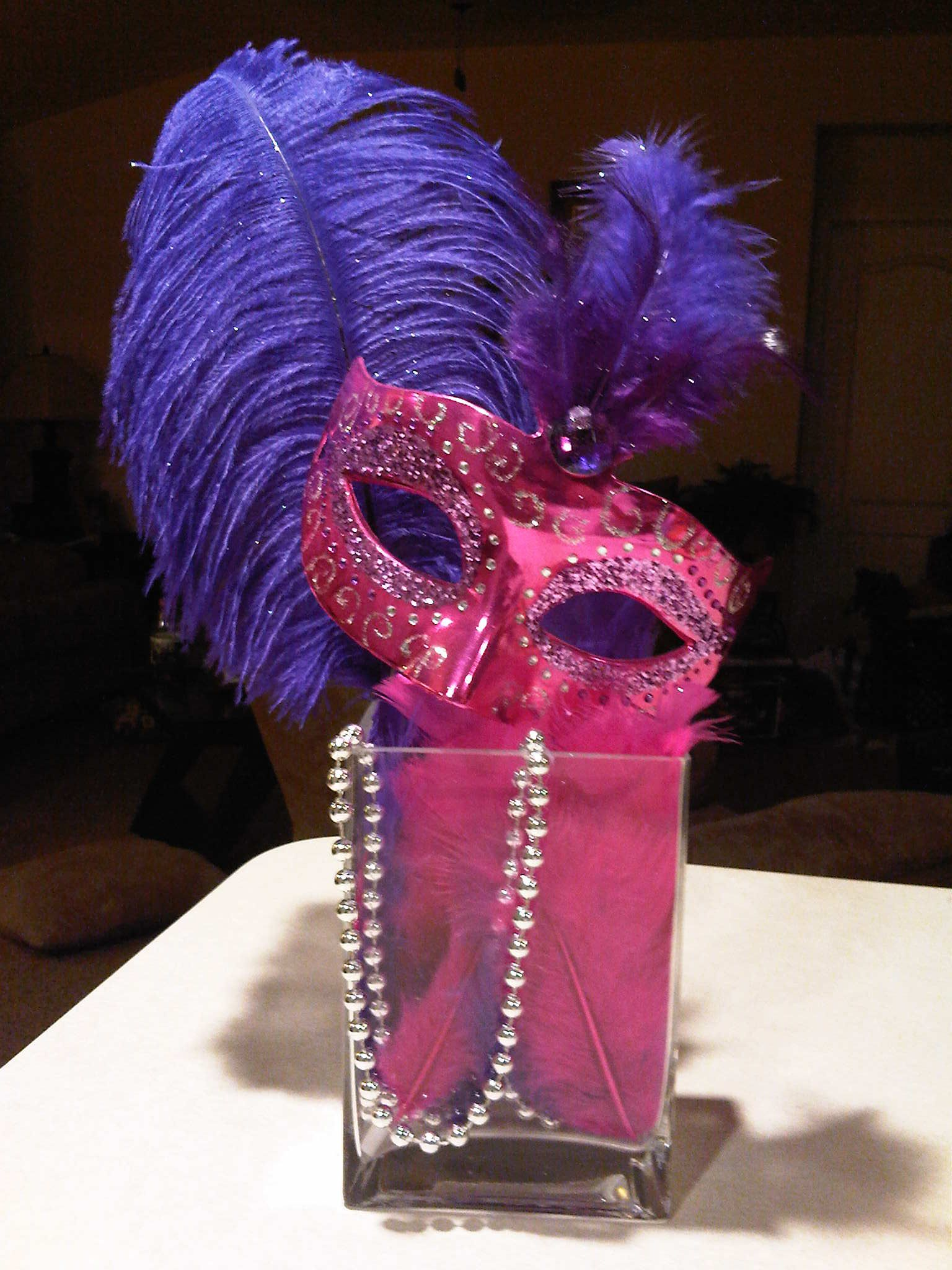 Masquerade decorations you make yourself - Masquerade Centerpieces For Sweet 16