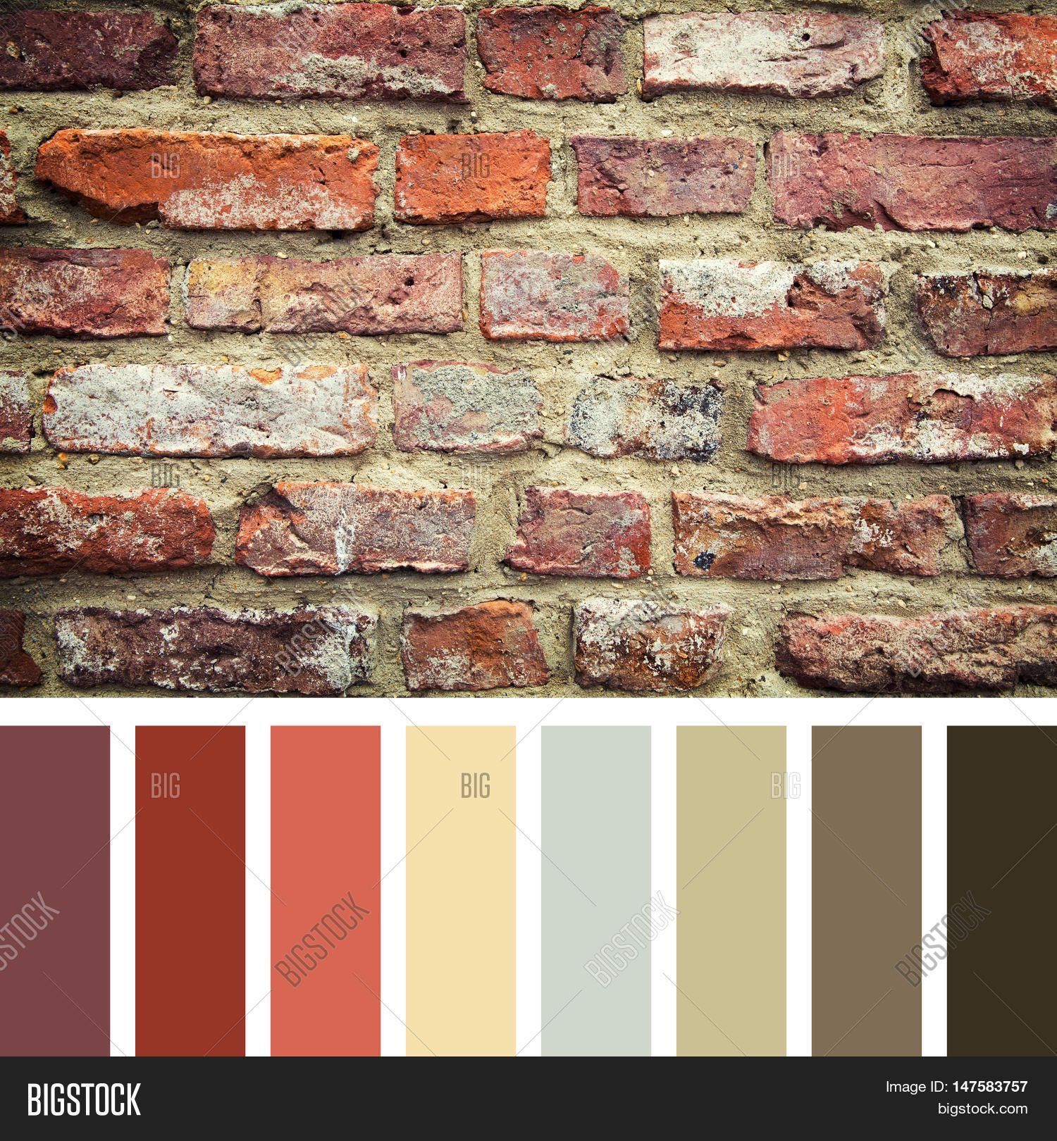 Old Red Brick Wall In A Colour Palette With Complimentary Colour Swatche House Paint Color Combination Exterior House Paint Color Combinations Red Brick Walls,White Kitchen Cabinets With Carrara Marble Countertops