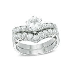 Zales Lab-Created White Sapphire Cluster Frame Bridal Set in Sterling Silver pRngeZ3230