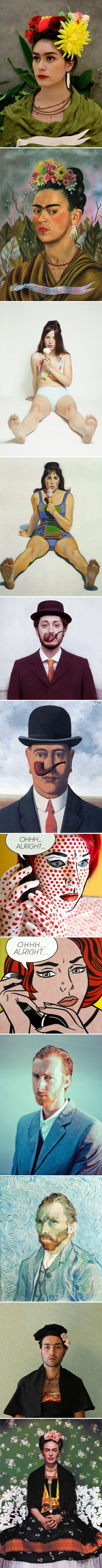 "Remake {1.""Self portrait dedicated to Dr. Eloesser"" remake by Yesenia Caloca, original by Frida Kahlo   2. ""Girl with Ice Cream Cone"" remake by Stephanie Gonot, original by Wayne Thiebaud  3. ""La bonne foi"" remake by Noemi Mazzucchelli, original by Magritte  4. ""Ohhh…Alright…"" remake by Emily Kiel, original by Roy Lichtenstein  5. ""Self Portrait 1889″ remake by Seth Johnson, original by Vincent van Gogh  6. ""Portrait of Frida Kahlo"" remake by Danilo Ursini, original by Frida Kahlo}"