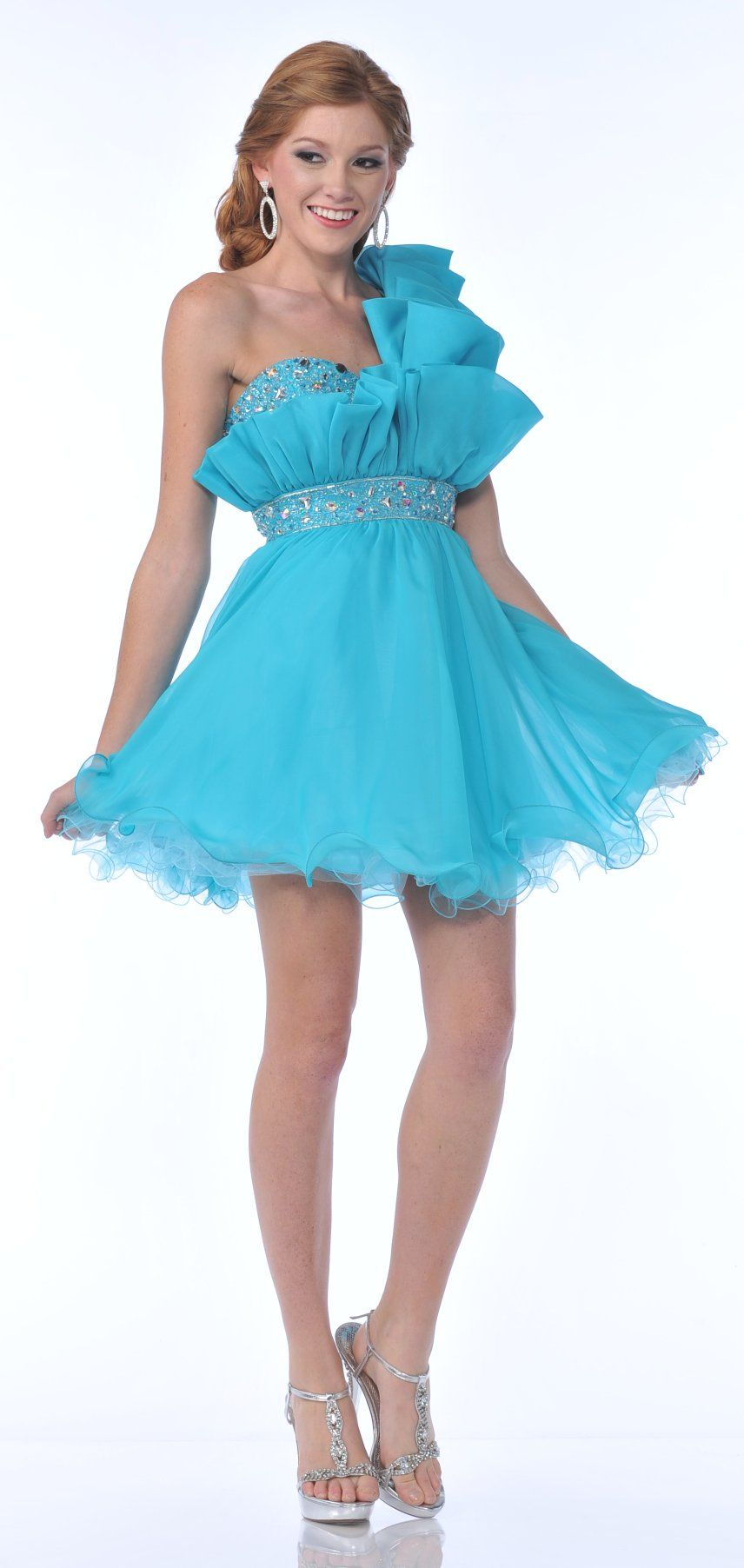 Crumbcatcher One Shoulder Strap Aqua Short Prom Dress Tulle Beads ...