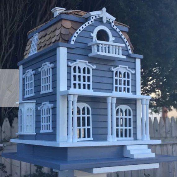 Best Blue Birdhouse Handmade Vintage Birdhouse Rustic Birdhouse Bird Houses Roof Architecture 400 x 300