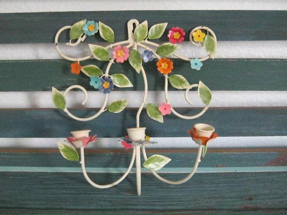 vintage Tole sconce candle holder colorful by LisasVintageFun