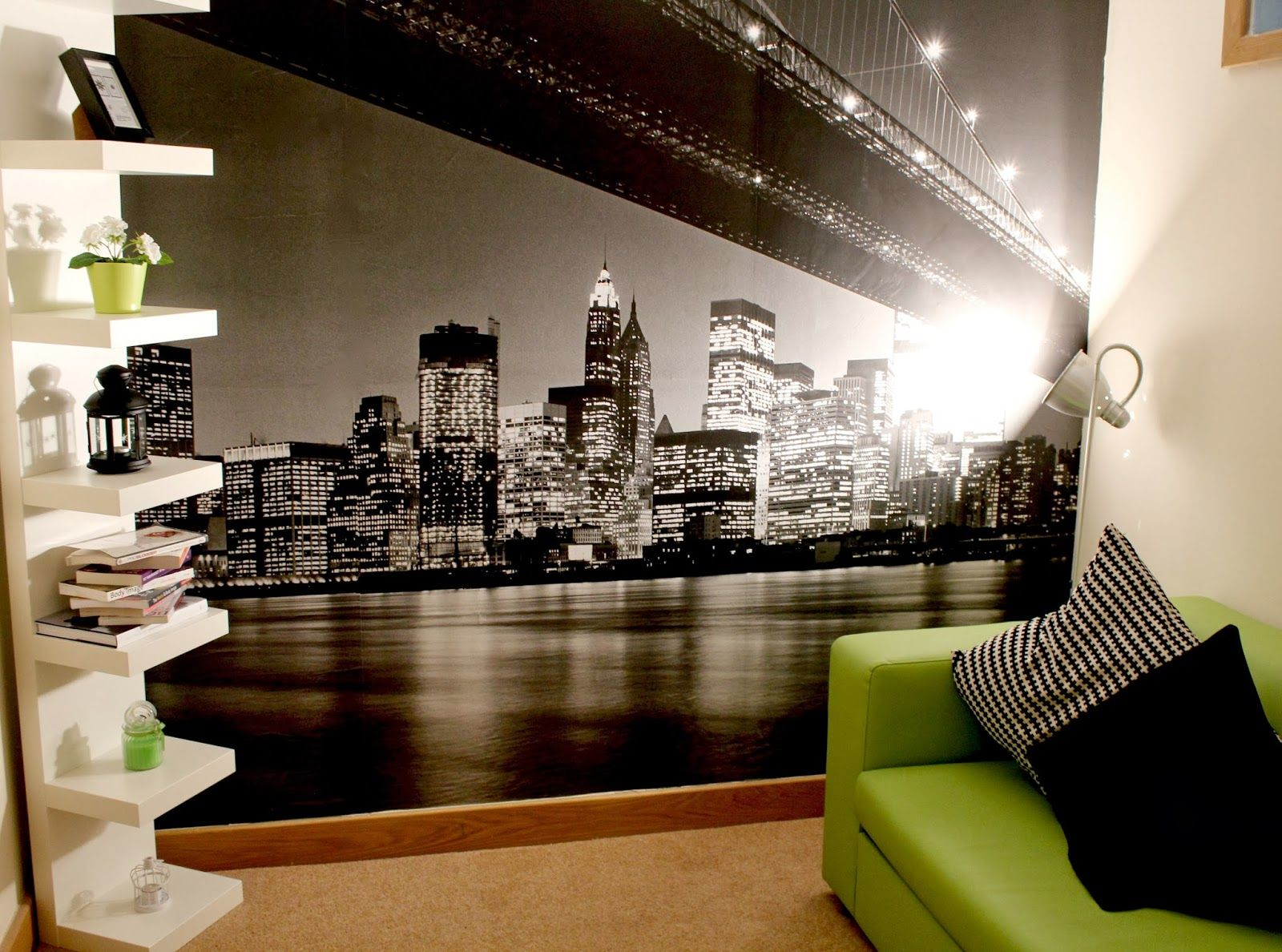New York Theam Room Decor Shelf Unit New York Wall