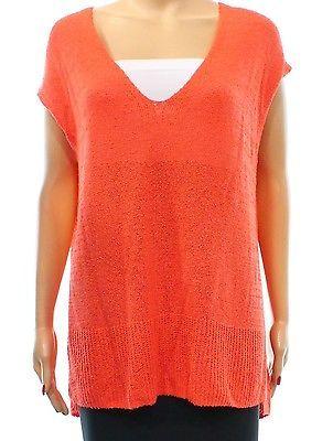 Free People NEW Orange Knit Women's XS V-Neck Cap Sleeve Sweater $98 #952 DEAL