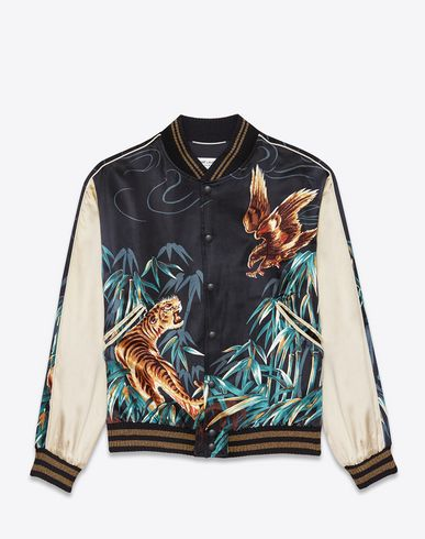 5d586c47b50 SAINT LAURENT Teddy Jacket In Navy Blue, Black And Brown Eagle And Tiger  Printed Viscose. #saintlaurent #cloth #