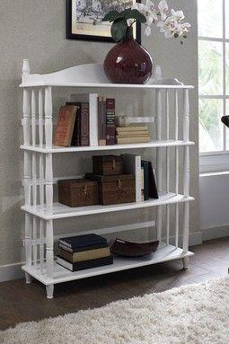 Daysha White Four-Shelf Spindle Leg Bookcase